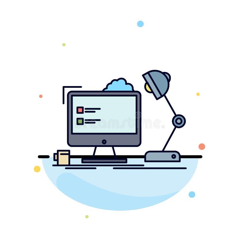 local de trabalho, estação de trabalho, escritório, lâmpada, vetor liso do ícone da cor do computador ilustração royalty free