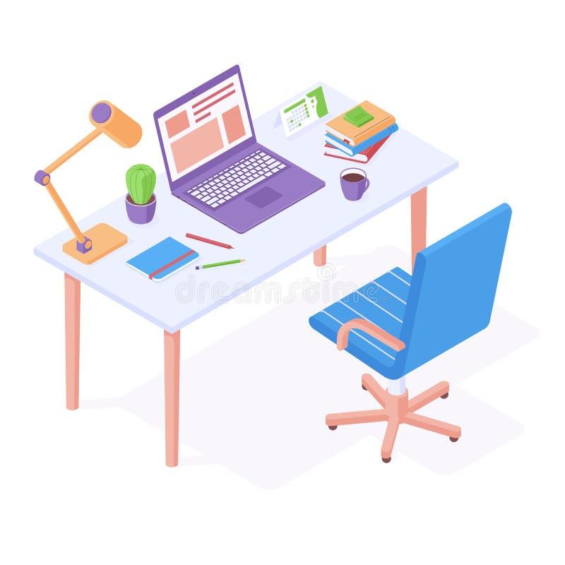 Local de trabalho isométrico - cadeira de escritório em pé perto da mesa, com laptop, luz de desktop e artigos de papelaria ilustração royalty free