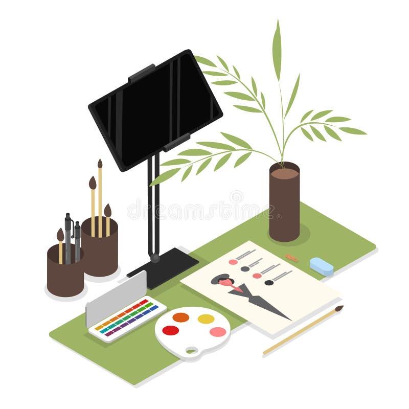 Local de trabalho isométrico do desenhista ilustração stock