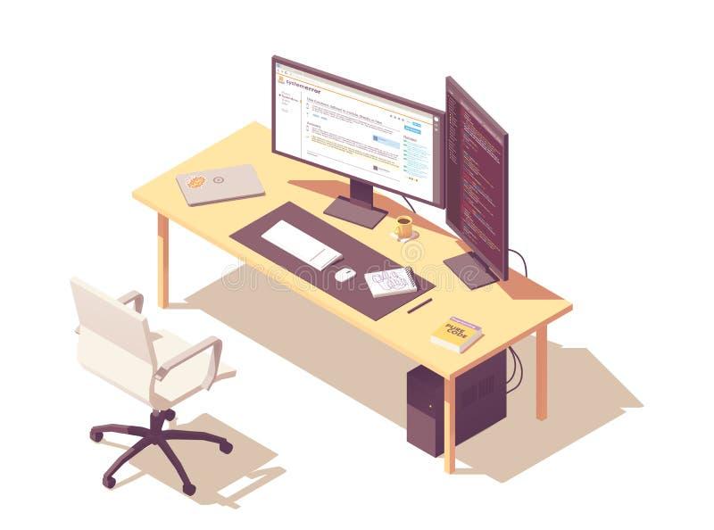Local de trabalho isométrico do programador do vetor ilustração royalty free