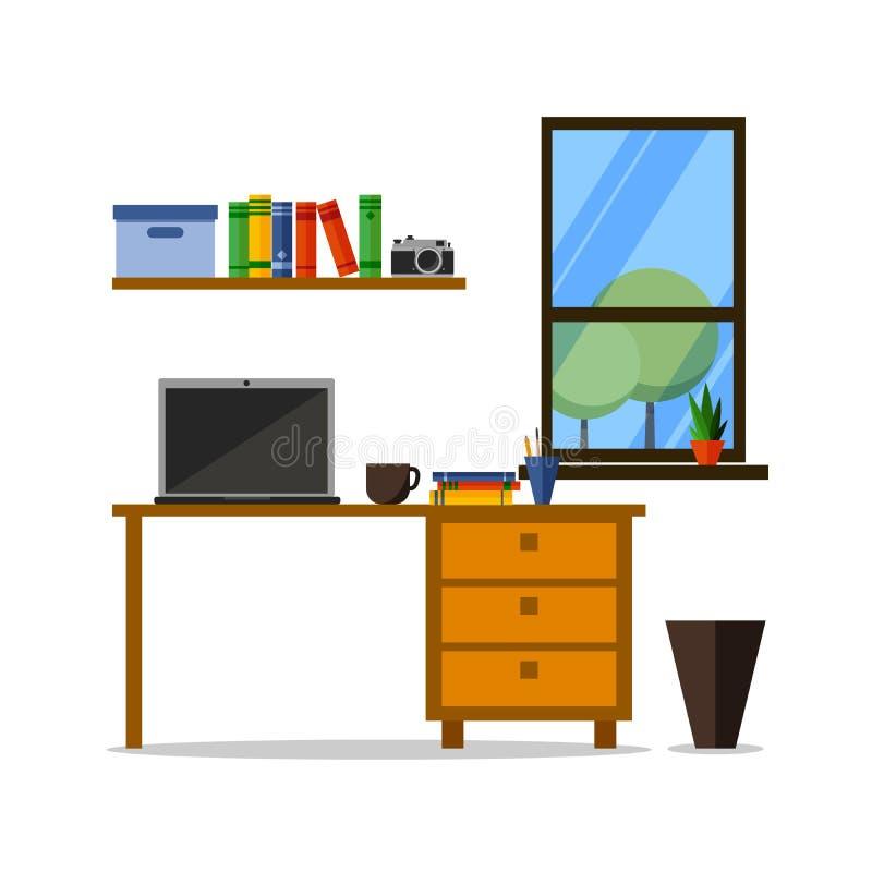 Local de trabalho liso da casa ou do escritório com tabela, biblioteca, prateleira Projeto na moda moderno para o cartão, site, b ilustração do vetor