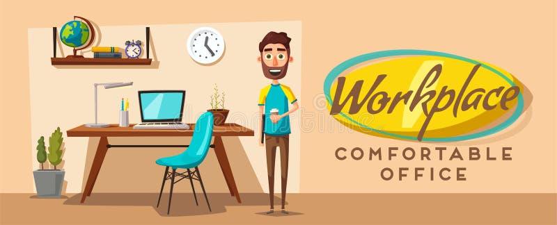Local de trabalho moderno Caráter creativo Trabalho de escritório Ilustração do vetor dos desenhos animados ilustração stock
