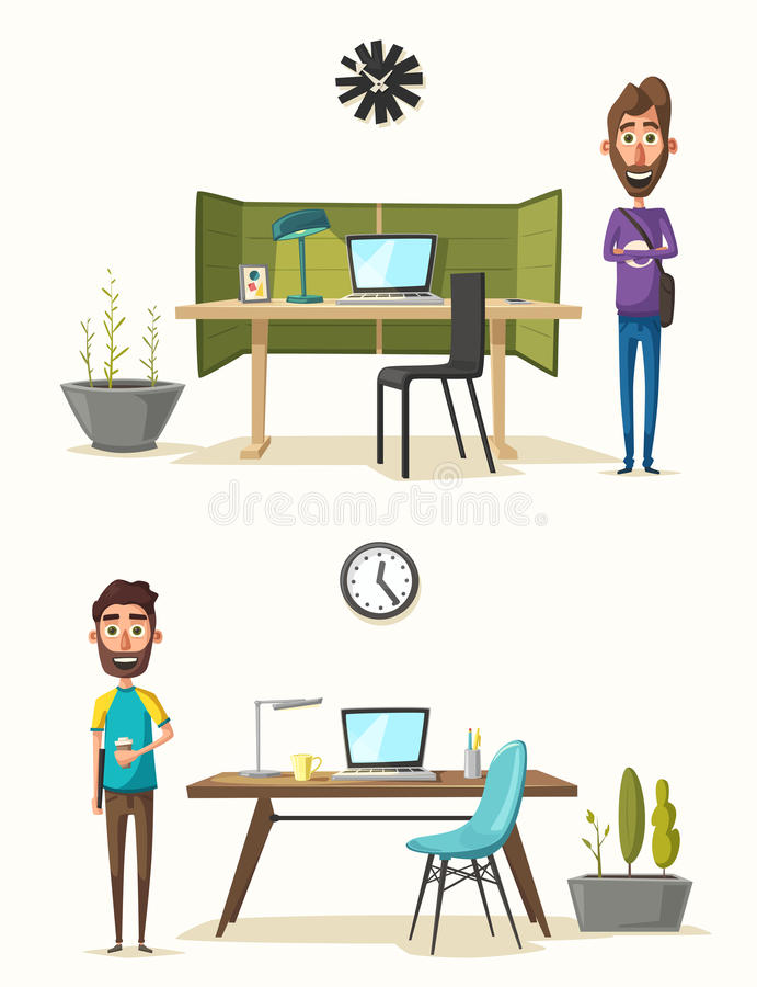 Local de trabalho moderno Caráter creativo Trabalho de escritório Ilustração do vetor dos desenhos animados ilustração royalty free