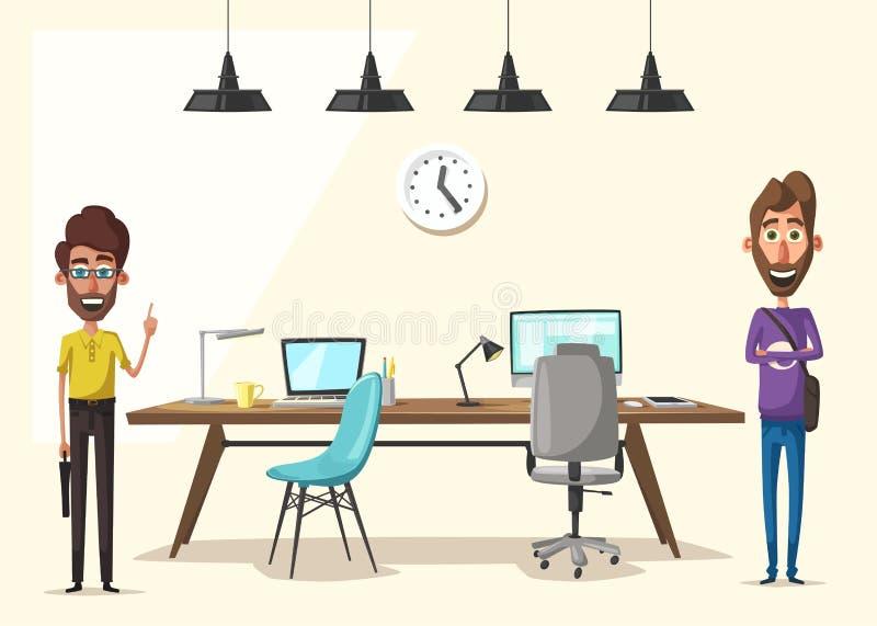 Local de trabalho moderno Caráter creativo Trabalho de escritório Ilustração do vetor dos desenhos animados ilustração do vetor