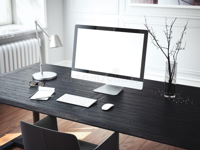 Local de trabalho moderno com computador rendição 3d ilustração royalty free