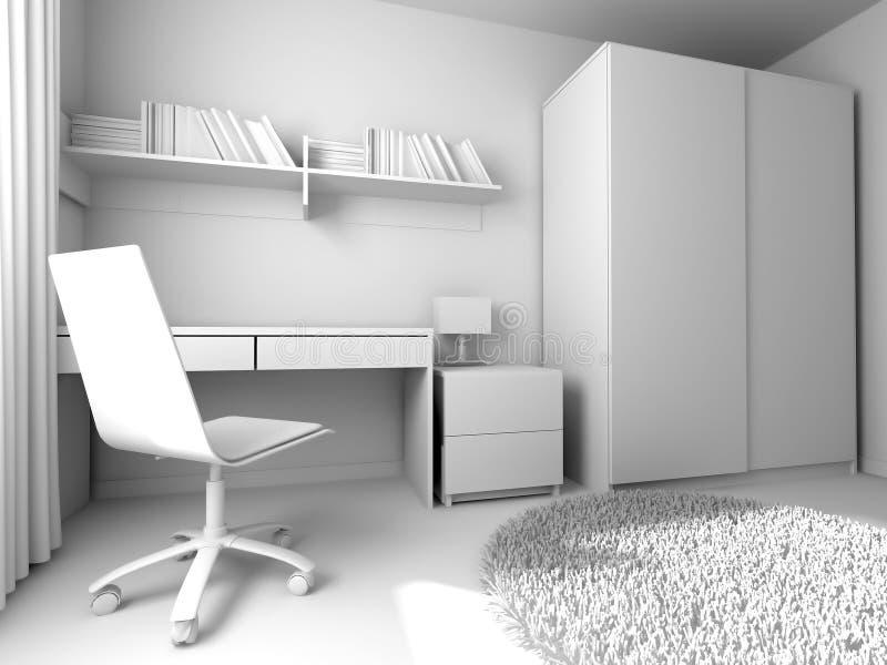 Local de trabalho moderno no interior da casa, rendição 3d ilustração stock
