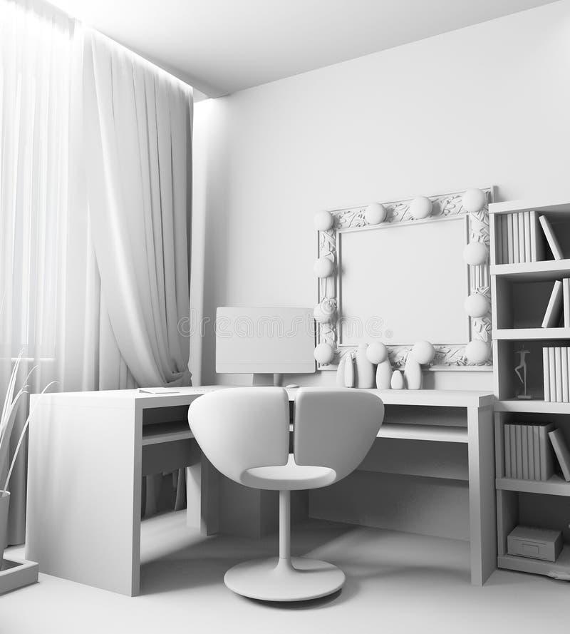 Local de trabalho moderno no interior da casa, rendição 3d ilustração royalty free