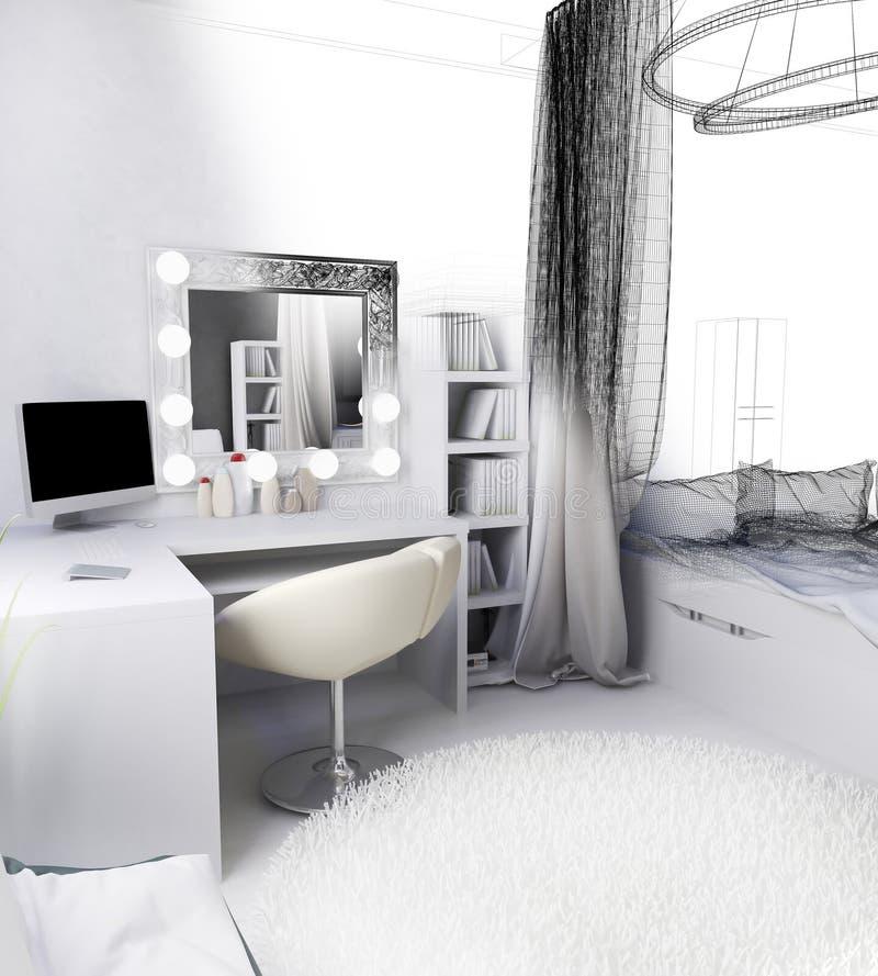 Local de trabalho moderno no interior da casa, rendição 3d fotografia de stock royalty free