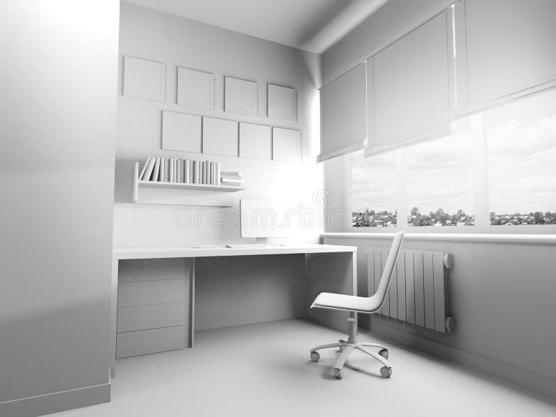 Local de trabalho moderno no interior da casa, rendi??o 3d ilustração royalty free