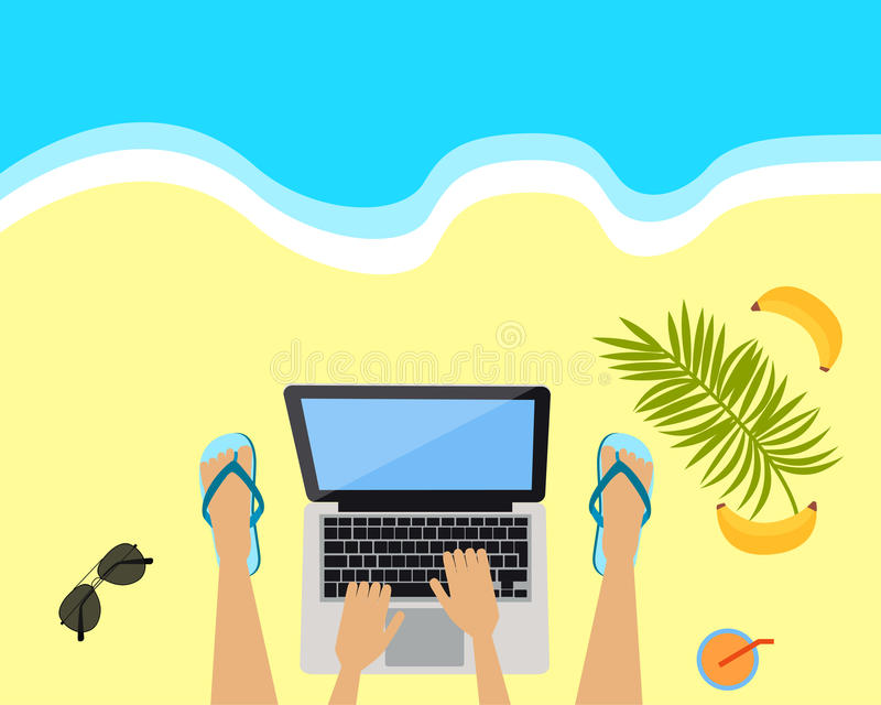 Local de trabalho na praia ilustração royalty free