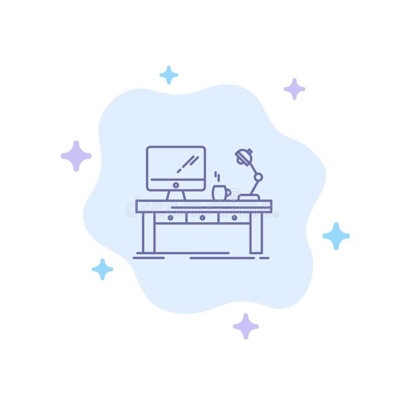 Local de trabalho, negócio, computador, mesa, lâmpada, escritório, ícone azul da tabela no fundo abstrato da nuvem ilustração stock