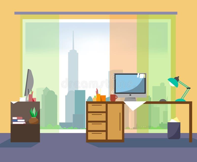 Local de trabalho no escritório com uma vista dos arranha-céus de um assoalho alto no projeto liso Ambiente empresarial ilustração royalty free