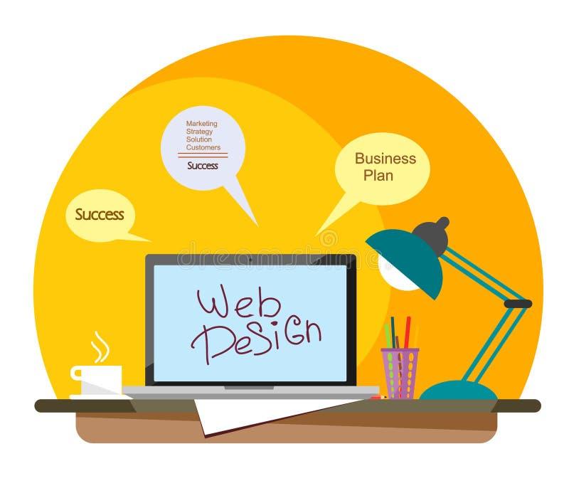 Local de trabalho de um desenhista da Web com um portátil e uma caneca de café em um estilo liso ilustração do vetor