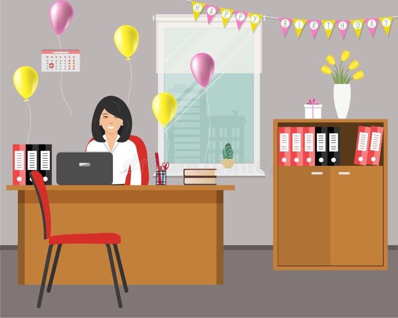 Local de trabalho de um trabalhador de escritório, decorado para seu aniversário A jovem mulher está sentando-se na mesa no fundo ilustração do vetor