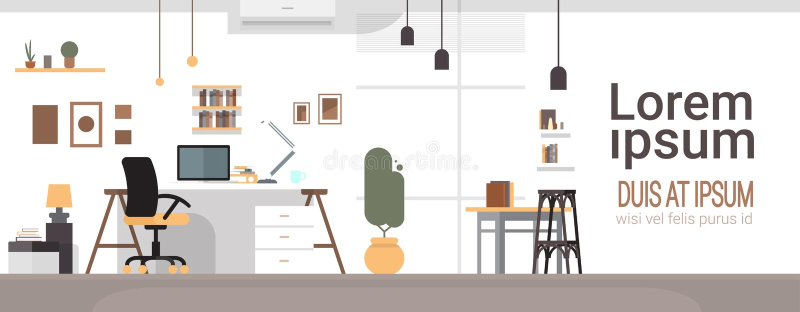 Local de trabalho vazio, escritório do espaço de trabalho do computador da cadeira de mesa nenhuns povos ilustração royalty free