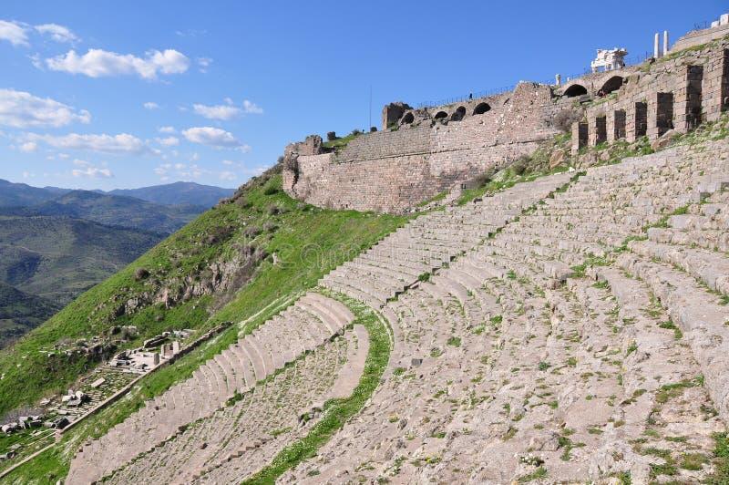 Local do teatro de Pergamon em Turquia imagens de stock