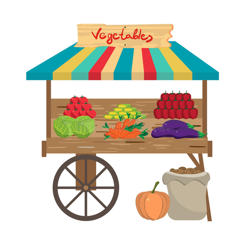 Local farmers market. Seller fresh natural product vegetables. Village vegetarian food for a healthy lifestyle shop. Cartoon flat vector illustration isolated stock illustration