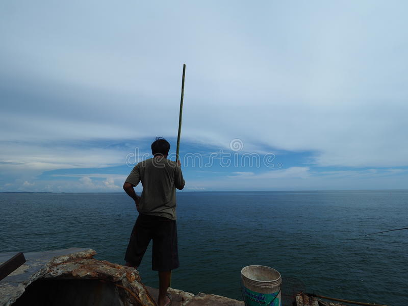 Local fisherman in Thailand stock image