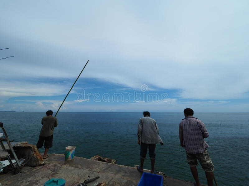 Local fishermen in Thailand royalty free stock photo