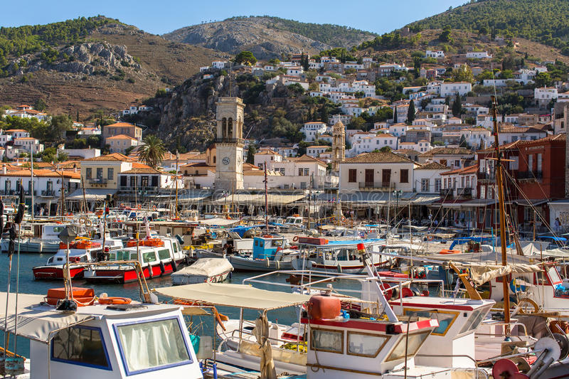 Local fishing boats in the harbour of Hydra island stock photography