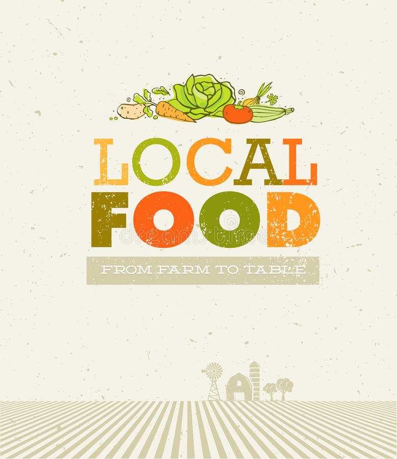 Local Food Market. From Farm To Table Creative Organic Vector Concept on Recycled Paper Background.  royalty free illustration