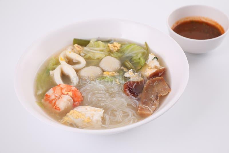 Local food , Thai sukiyaki soup isoated in white background street food stock images