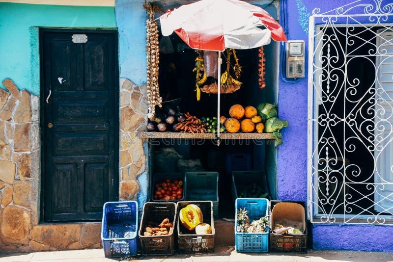 A local fruit stand in Trinidad, Cuba. A local fruit stand selling fruits and vegetables in Trinidad, Cuba royalty free stock photos