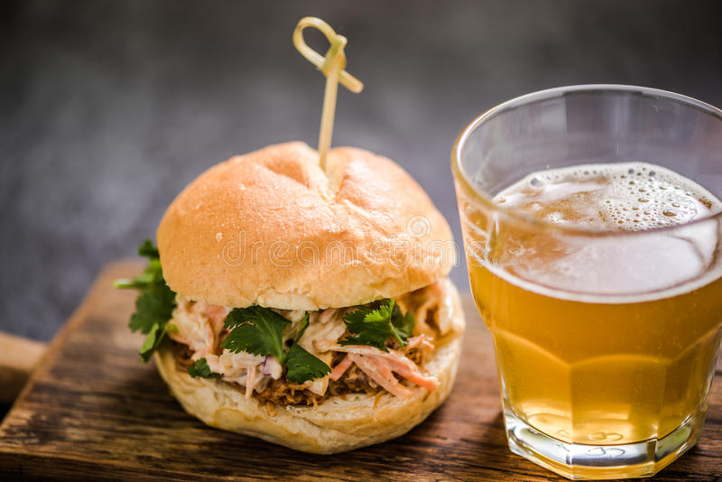Local gastro pub food, pulled pork bun. With coleslaw stock image