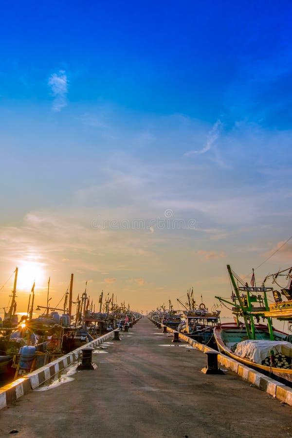 Local harbour in Jepara Indonesia. Sunrise in the local harbour in small town Jepara Indonesia stock image