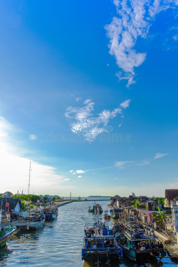 A local harbour in Indonesia. A local harbour in Jepara Indonesia. there are so many local fisherman`s ships here stock photography