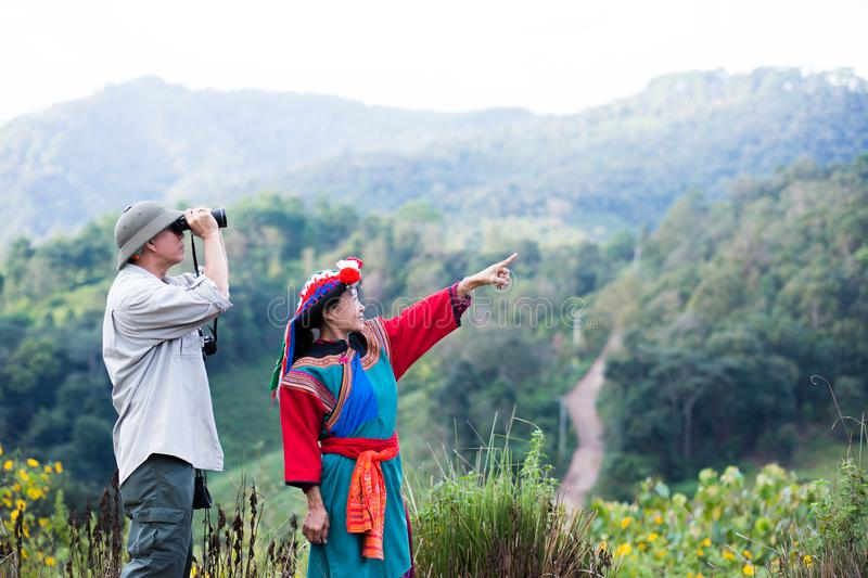 Local hill tribe in colorful costume dress enjoy royalty free stock photos