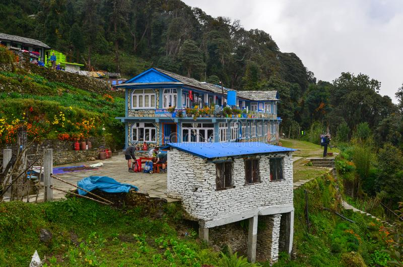 Local house at mountain village at base camp path royalty free stock image