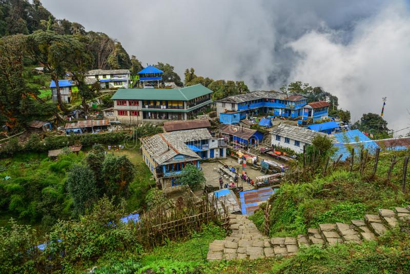 Local house at mountain village at base camp path stock image