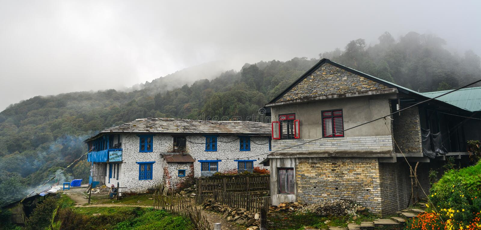 Local house at mountain village at base camp path royalty free stock images