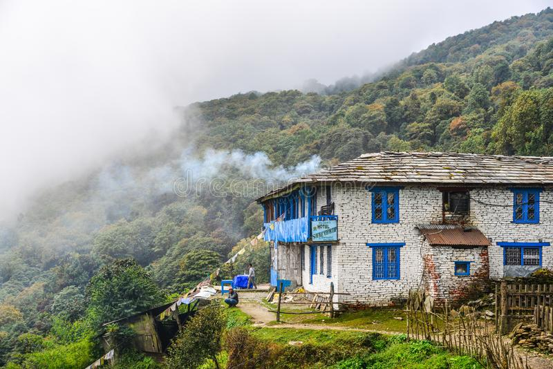 Local house at mountain village at base camp path stock images
