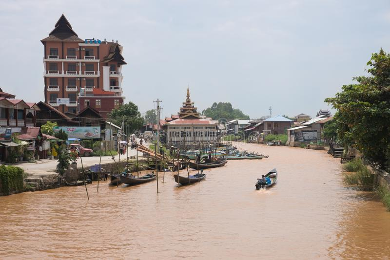 Local houses at famous inle lake in central myanmar royalty free stock images
