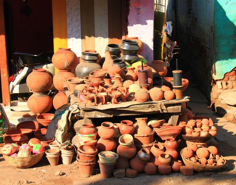 Local Indian Pottery shop , MP, India. Local Indian Pottery shop in front of potter's home, Seoni, MP, India royalty free stock photo