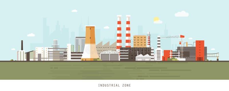 Local industrial ou zona com fábricas, usinas, centrais elétricas, armazéns, torres refrigerando contra a cidade ilustração stock