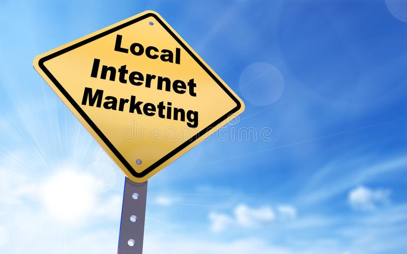 Local internet marketing sign. On blue sky background,3d rendered royalty free illustration