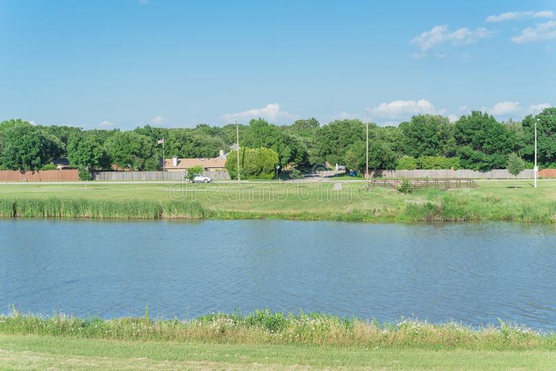 Local lake park with reeds and wildflower near residential houses under cloud blue sky royalty free stock photography