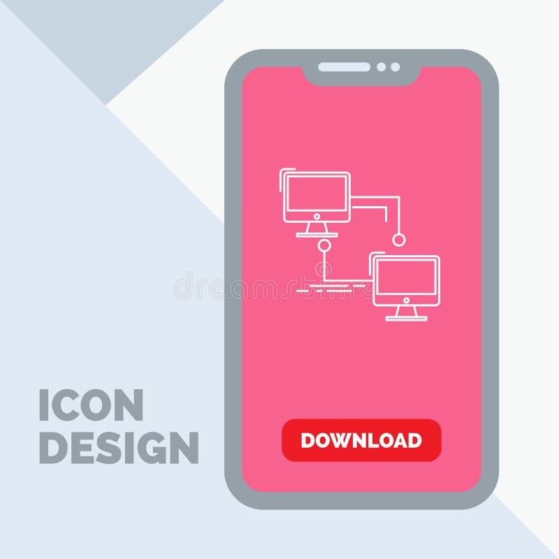 local, lan, conexão, sincronização, linha de computador ícone no móbil para a página da transferência ilustração stock