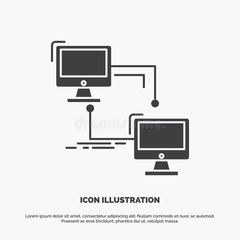 local, lan, conex?o, sincroniza??o, ?cone do computador s?mbolo cinzento do vetor do glyph para UI e UX, Web site ou aplica??o m? ilustração royalty free