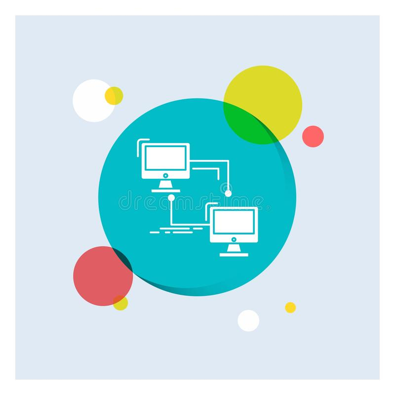 local, lan, conexión, sincronización, fondo colorido del círculo del icono blanco del Glyph del ordenador libre illustration