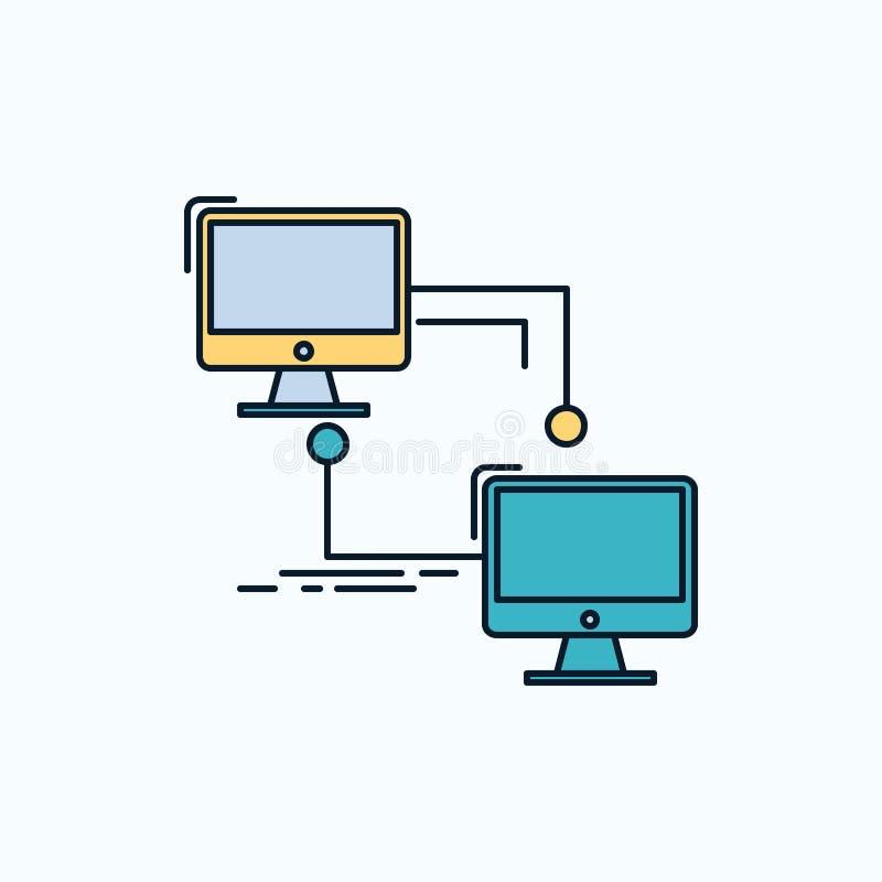 local, lan, conexión, sincronización, icono plano del ordenador muestra y s?mbolos verdes y amarillos para la p?gina web y el app ilustración del vector