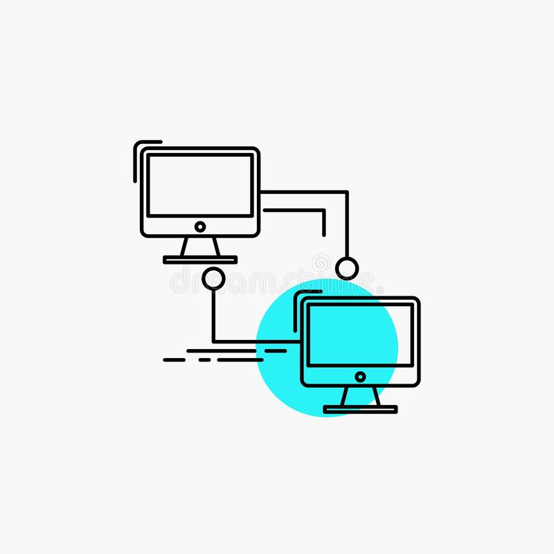 local, lan, conexión, sincronización, línea de ordenador icono ilustración del vector
