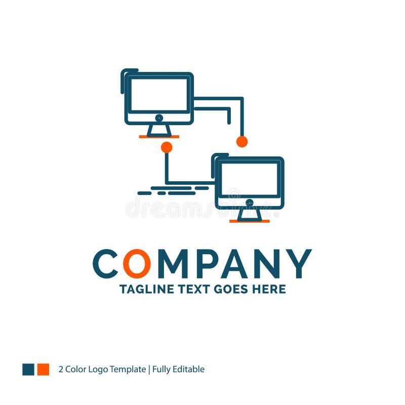 local, lan, conexión, sincronización, ordenador Logo Design Azul y Ora libre illustration