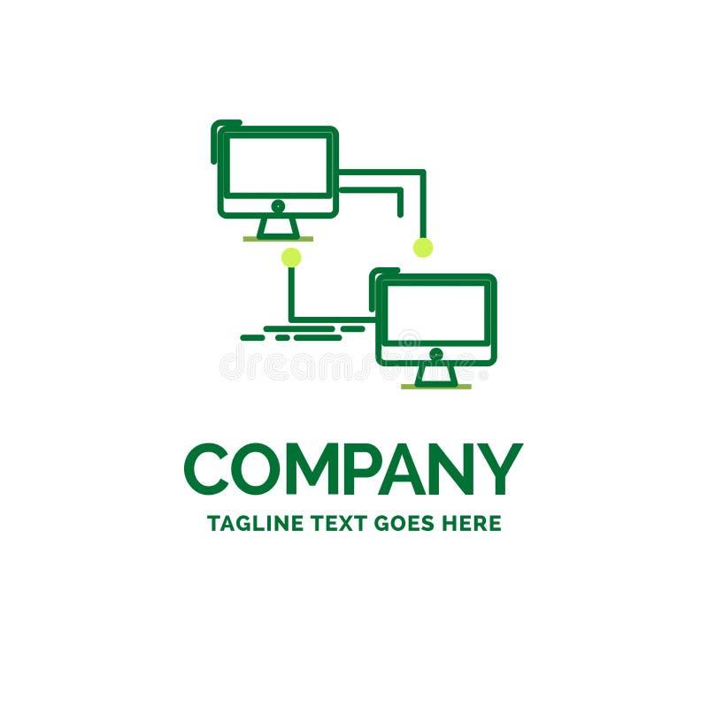 local, lan, conexión, sincronización, templa plano del logotipo del negocio del ordenador ilustración del vector