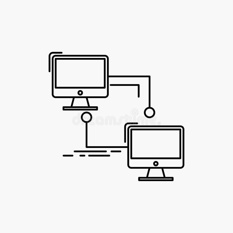 local, lan, conexi?n, sincronizaci?n, l?nea de ordenador icono Ejemplo aislado vector stock de ilustración