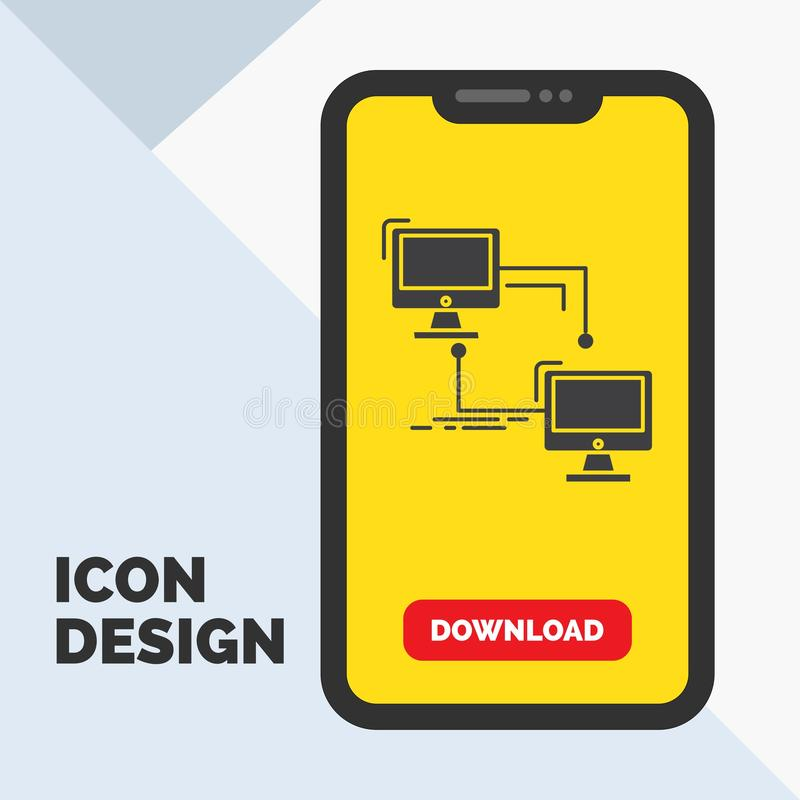 Local, lan, connection, sync, computer Glyph Icon in Mobile for Download Page. Yellow Background. Vector EPS10 Abstract Template background vector illustration