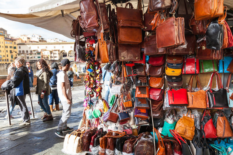 Local leather bags on street shop in florence editorial for Dream store firenze